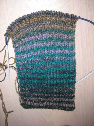 Noro striped scarf in progress
