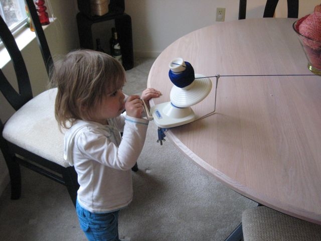 Abby winding yarn