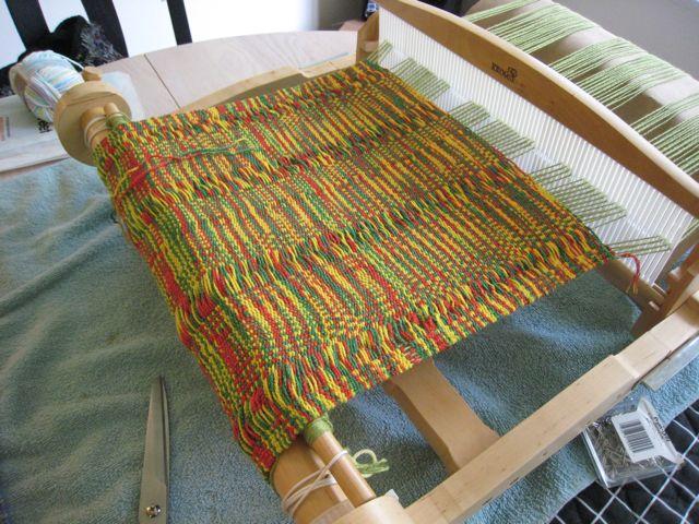 Woven Fiesta Mat in process