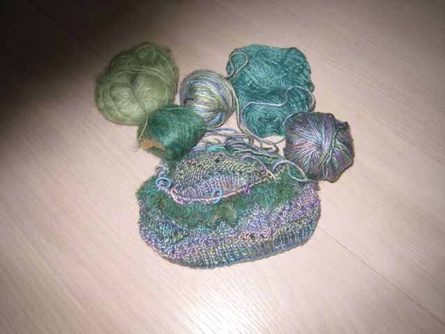 Hat in progress teal greens