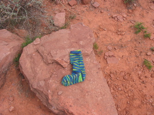 Sedona_sock_on_a_rock